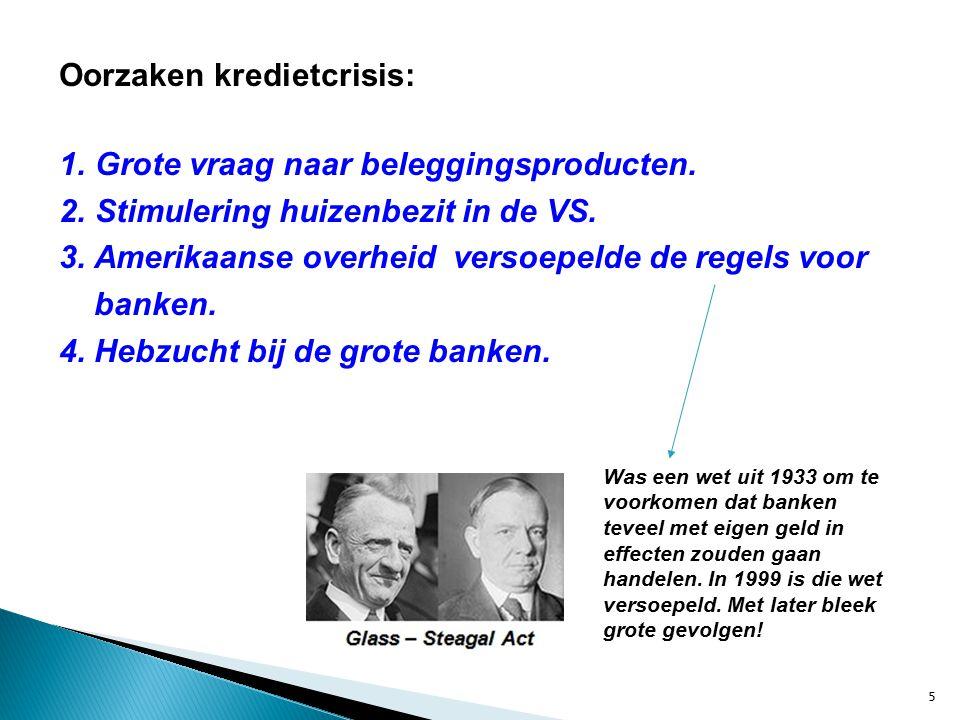 Oorzaken kredietcrisis: 1. Grote vraag naar beleggingsproducten.