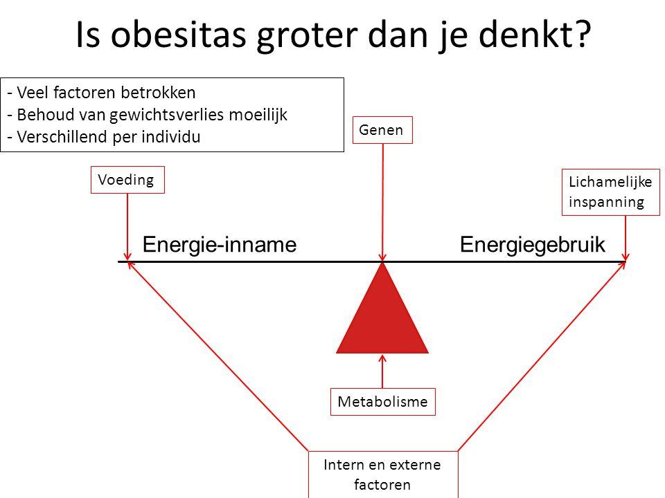 Is obesitas groter dan je denkt? Voeding Genen Lichamelijke inspanning Metabolisme Intern en externe factoren Energie-innameEnergiegebruik - Veel fact