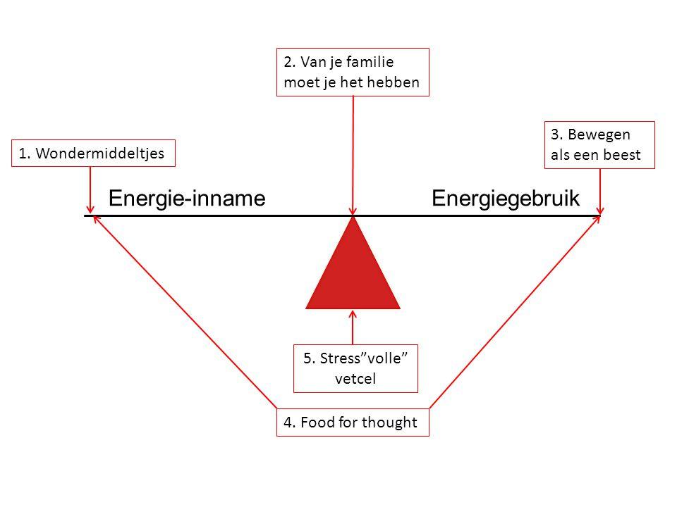 """1. Wondermiddeltjes 2. Van je familie moet je het hebben 3. Bewegen als een beest 5. Stress""""volle"""" vetcel 4. Food for thought Energie-innameEnergiegeb"""