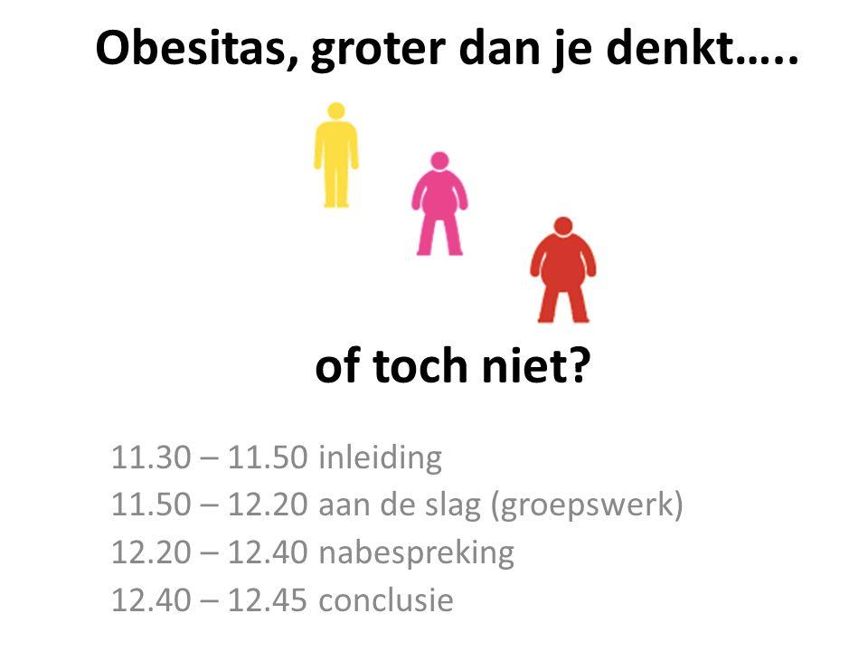 Obesitas, groter dan je denkt….. of toch niet? 11.30 – 11.50 inleiding 11.50 – 12.20 aan de slag (groepswerk) 12.20 – 12.40 nabespreking 12.40 – 12.45