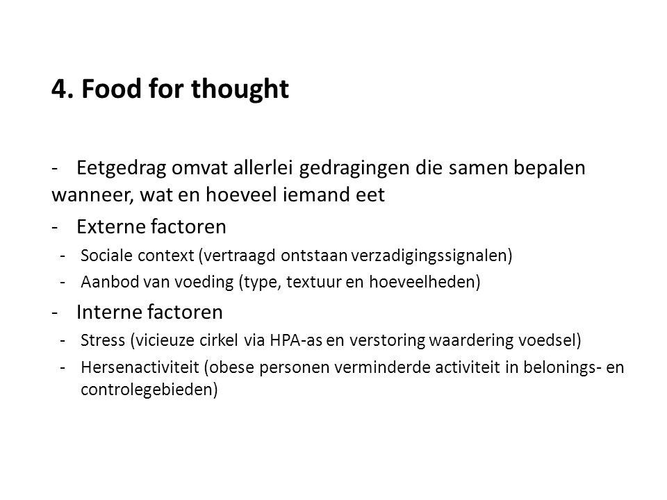 4. Food for thought -Eetgedrag omvat allerlei gedragingen die samen bepalen wanneer, wat en hoeveel iemand eet -Externe factoren -Sociale context (ver