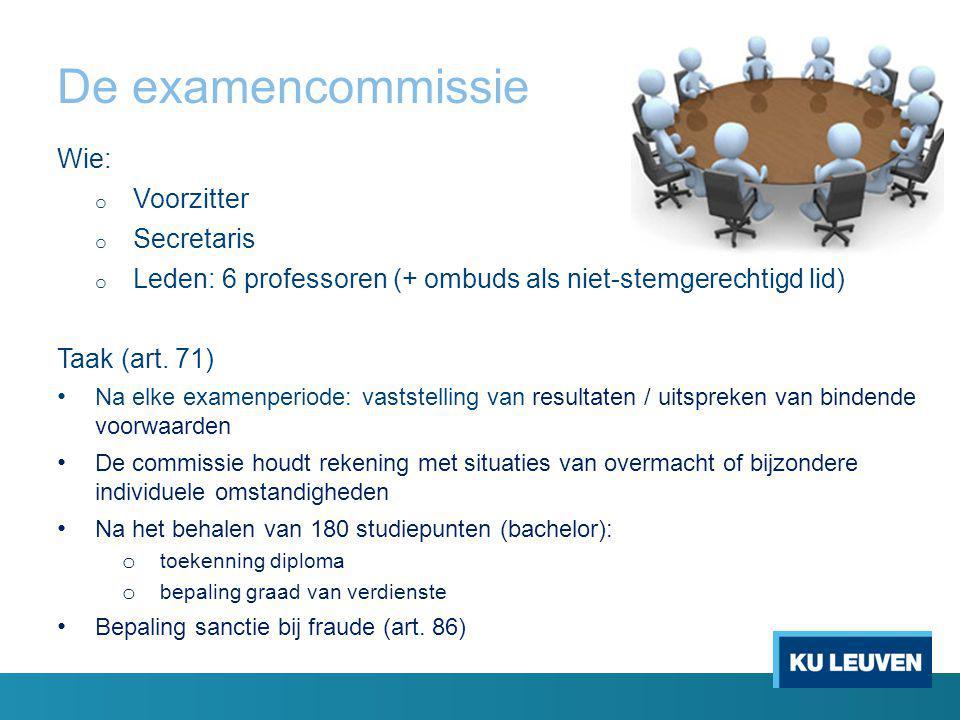 De examencommissie Wie: o Voorzitter o Secretaris o Leden: 6 professoren (+ ombuds als niet-stemgerechtigd lid) Taak (art.