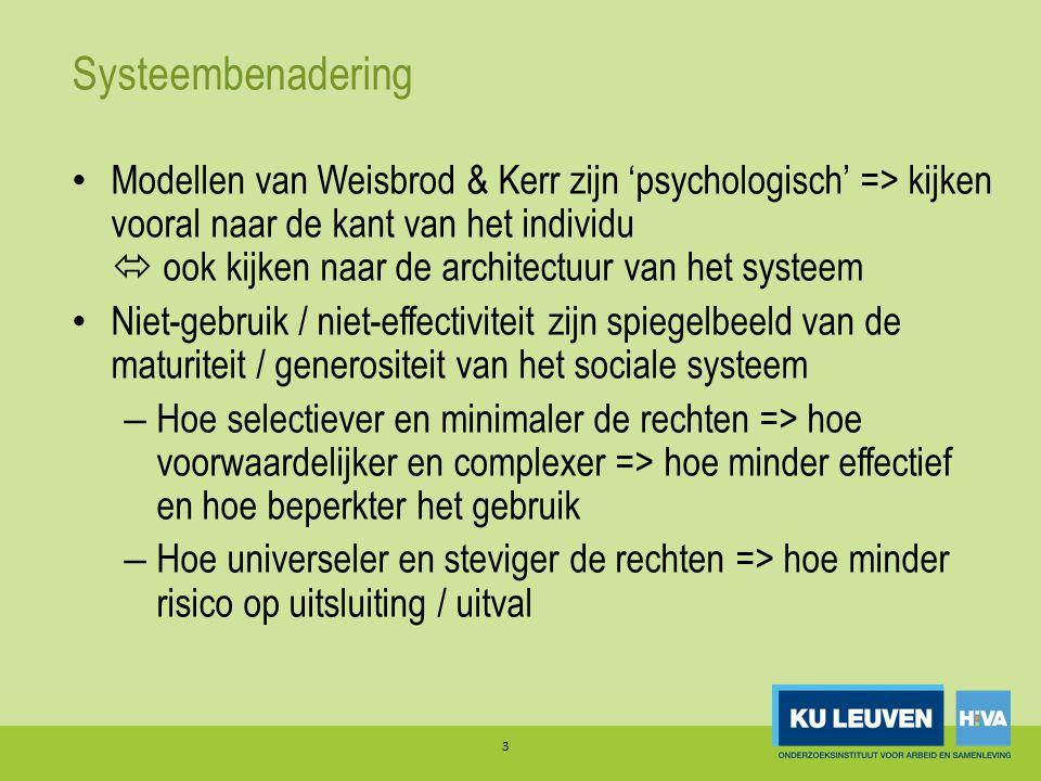 Systeembenadering Modellen van Weisbrod & Kerr zijn 'psychologisch' => kijken vooral naar de kant van het individu  ook kijken naar de architectuur van het systeem Niet-gebruik / niet-effectiviteit zijn spiegelbeeld van de maturiteit / generositeit van het sociale systeem – Hoe selectiever en minimaler de rechten => hoe voorwaardelijker en complexer => hoe minder effectief en hoe beperkter het gebruik – Hoe universeler en steviger de rechten => hoe minder risico op uitsluiting / uitval 3
