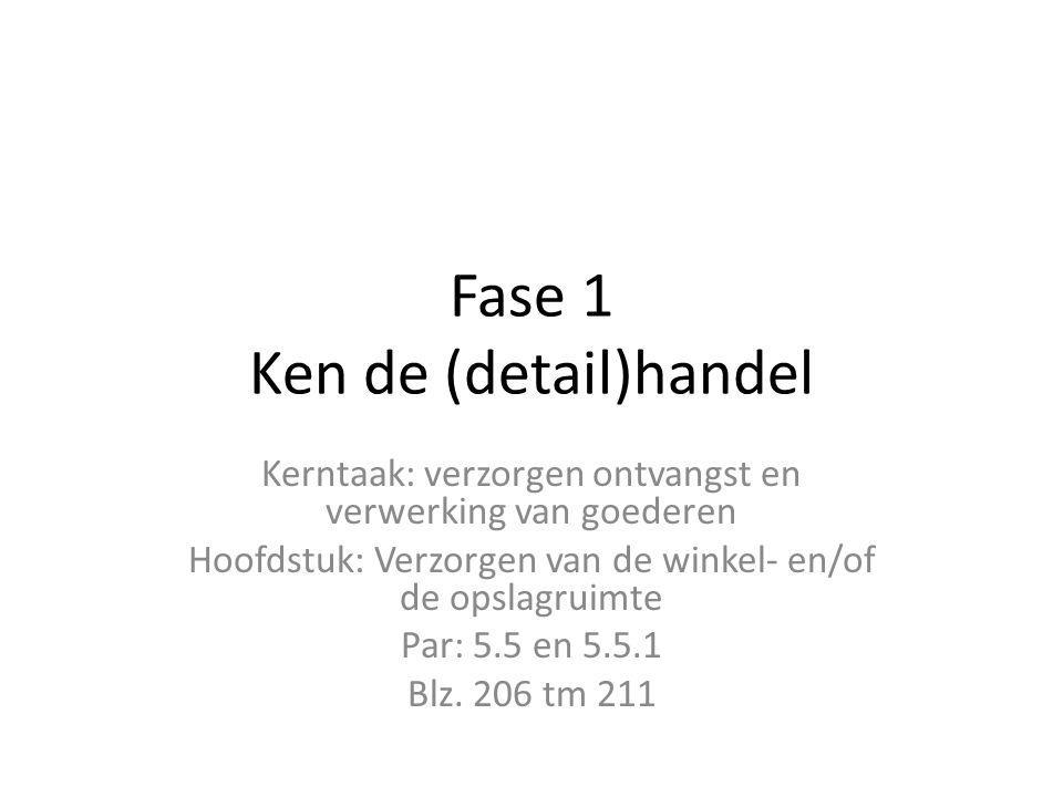 Fase 1 Ken de (detail)handel Kerntaak: verzorgen ontvangst en verwerking van goederen Hoofdstuk: Verzorgen van de winkel- en/of de opslagruimte Par: 5.5 en 5.5.1 Blz.