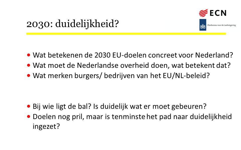 2030: duidelijkheid? Wat betekenen de 2030 EU-doelen concreet voor Nederland? Wat moet de Nederlandse overheid doen, wat betekent dat? Wat merken burg