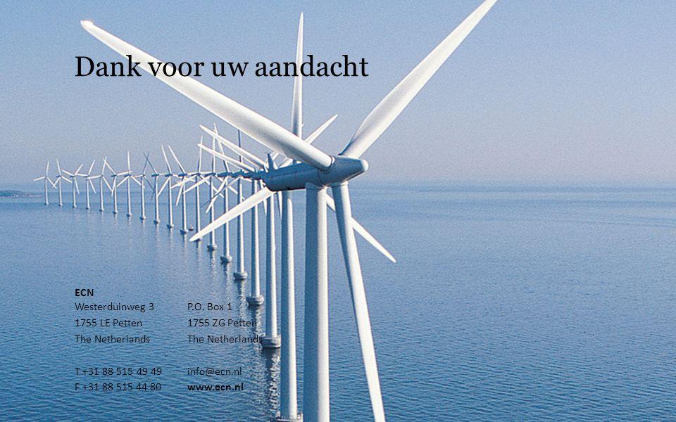Dank voor uw aandacht ECN Westerduinweg 3P.O. Box 1 1755 LE Petten1755 ZG PettenThe Netherlands T +31 88 515 49 49info@ecn.nl F +31 88 515 44 80www.ec