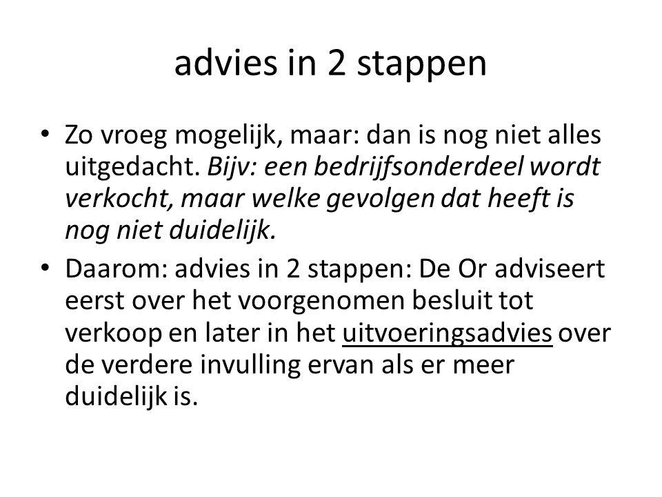 advies in 2 stappen Zo vroeg mogelijk, maar: dan is nog niet alles uitgedacht. Bijv: een bedrijfsonderdeel wordt verkocht, maar welke gevolgen dat hee