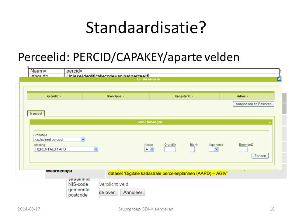 Standaardisatie? 2014-09-17Stuurgroep GDI-Vlaanderen16 Perceelid: PERCID/CAPAKEY/aparte velden