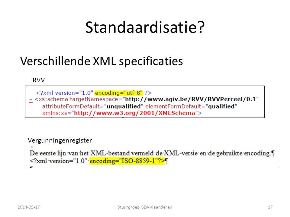 Standaardisatie? 2014-09-17Stuurgroep GDI-Vlaanderen17 Vergunningenregister RVV Verschillende XML specificaties