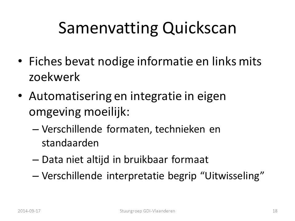 Samenvatting Quickscan Fiches bevat nodige informatie en links mits zoekwerk Automatisering en integratie in eigen omgeving moeilijk: – Verschillende