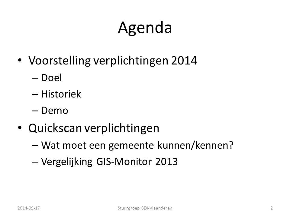 Agenda Voorstelling verplichtingen 2014 – Doel – Historiek – Demo Quickscan verplichtingen – Wat moet een gemeente kunnen/kennen? – Vergelijking GIS-M