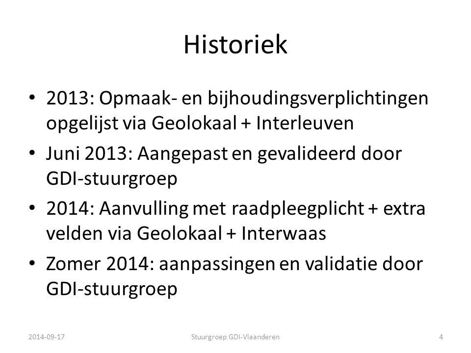 Historiek 2013: Opmaak- en bijhoudingsverplichtingen opgelijst via Geolokaal + Interleuven Juni 2013: Aangepast en gevalideerd door GDI-stuurgroep 201