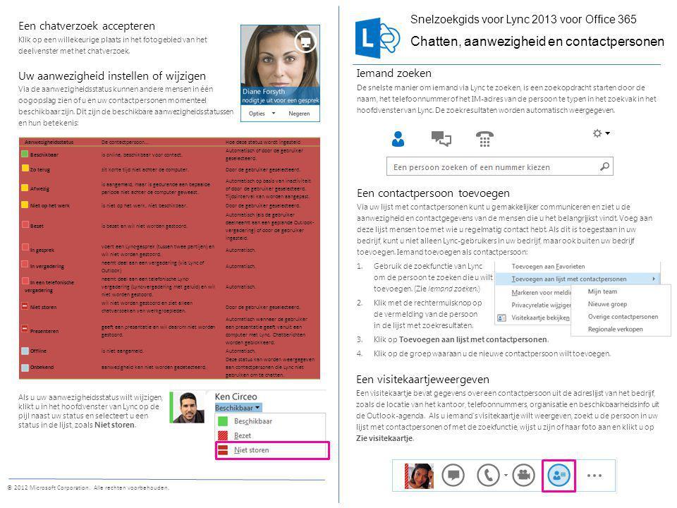 Een chatbericht verzenden Via chatberichten kunt u direct contact opnemen met beschikbare contactpersonen.