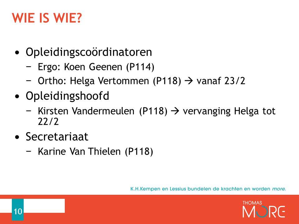 WIE IS WIE? Opleidingscoördinatoren − Ergo: Koen Geenen (P114) − Ortho: Helga Vertommen (P118)  vanaf 23/2 Opleidingshoofd − Kirsten Vandermeulen (P1