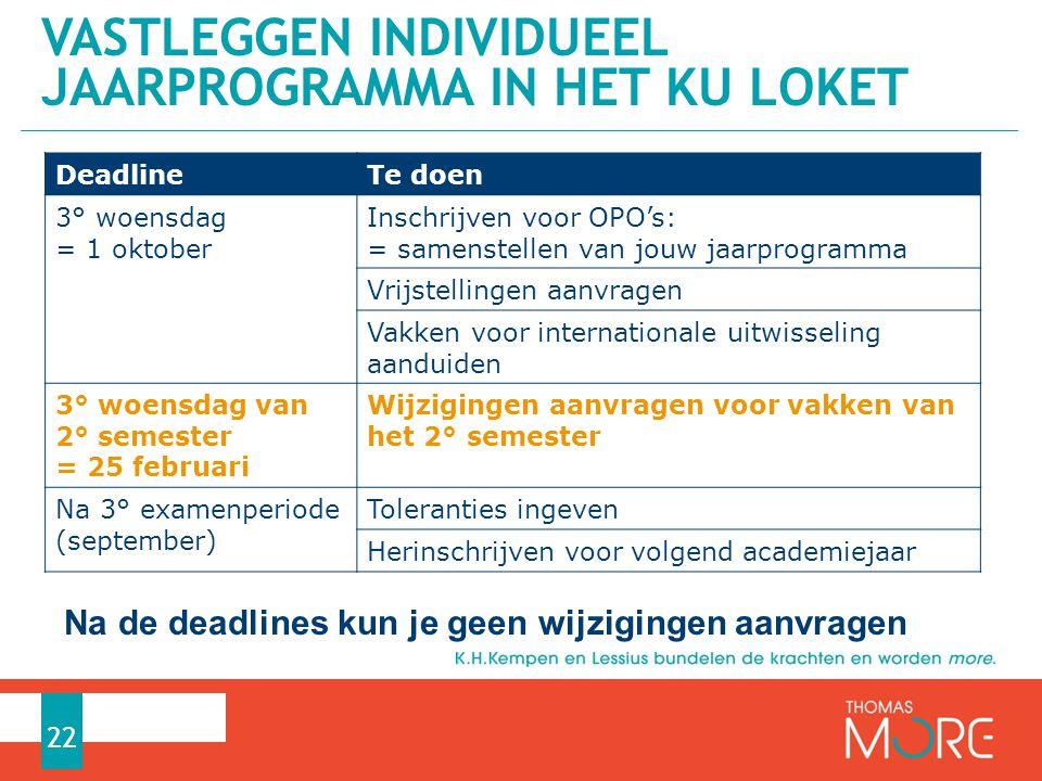 VASTLEGGEN INDIVIDUEEL JAARPROGRAMMA IN HET KU LOKET 22 DeadlineTe doen 3° woensdag = 1 oktober Inschrijven voor OPO's: = samenstellen van jouw jaarpr