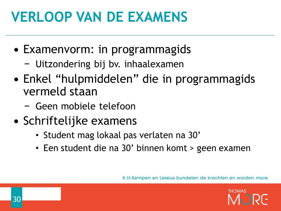 """Examenvorm: in programmagids − Uitzondering bij bv. inhaalexamen Enkel """"hulpmiddelen"""" die in programmagids vermeld staan − Geen mobiele telefoon Schri"""