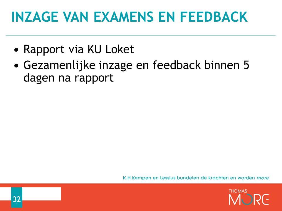 Rapport via KU Loket Gezamenlijke inzage en feedback binnen 5 dagen na rapport INZAGE VAN EXAMENS EN FEEDBACK 32
