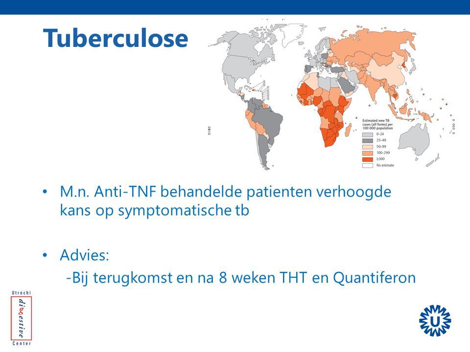 M.n. Anti-TNF behandelde patienten verhoogde kans op symptomatische tb Advies: -Bij terugkomst en na 8 weken THT en Quantiferon Tuberculose