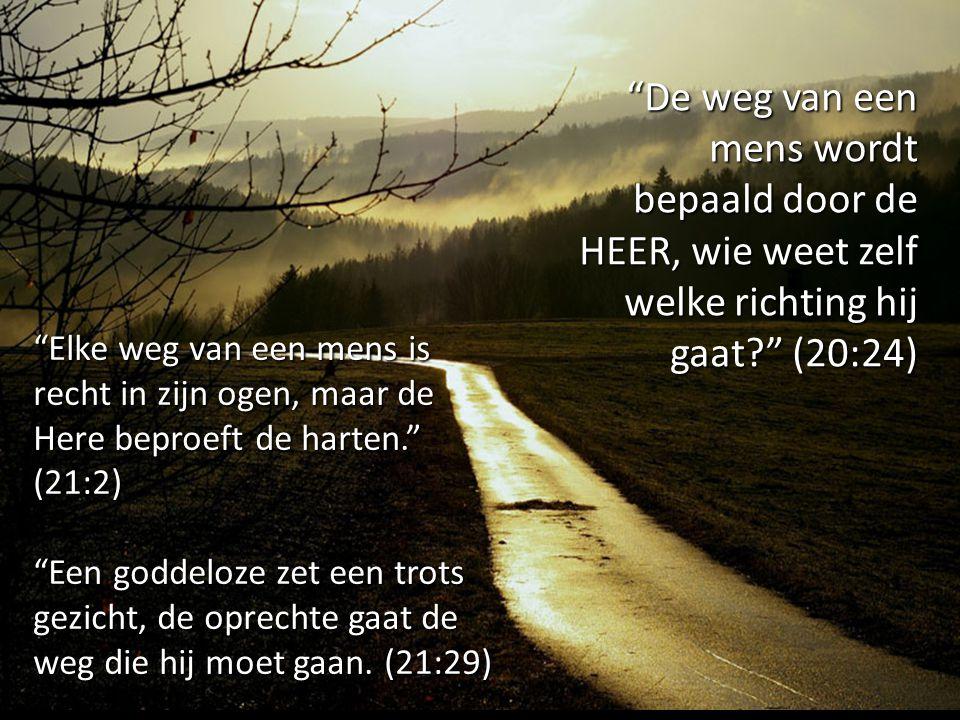"""""""De weg van een mens wordt bepaald door de HEER, wie weet zelf welke richting hij gaat?"""" (20:24) """"Elke weg van een mens is recht in zijn ogen, maar de"""