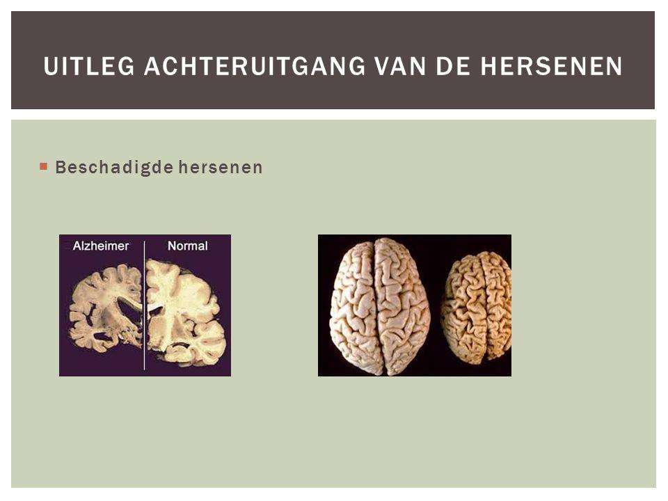  Beschadigde hersenen UITLEG ACHTERUITGANG VAN DE HERSENEN