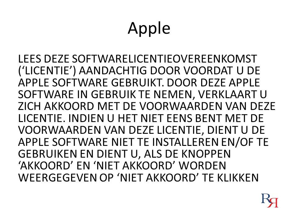 Apple LEES DEZE SOFTWARELICENTIEOVEREENKOMST ('LICENTIE') AANDACHTIG DOOR VOORDAT U DE APPLE SOFTWARE GEBRUIKT. DOOR DEZE APPLE SOFTWARE IN GEBRUIK TE
