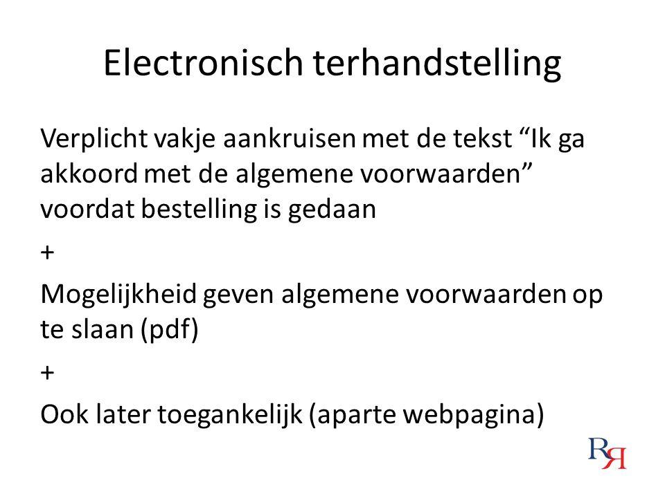 """Electronisch terhandstelling Verplicht vakje aankruisen met de tekst """"Ik ga akkoord met de algemene voorwaarden"""" voordat bestelling is gedaan + Mogeli"""