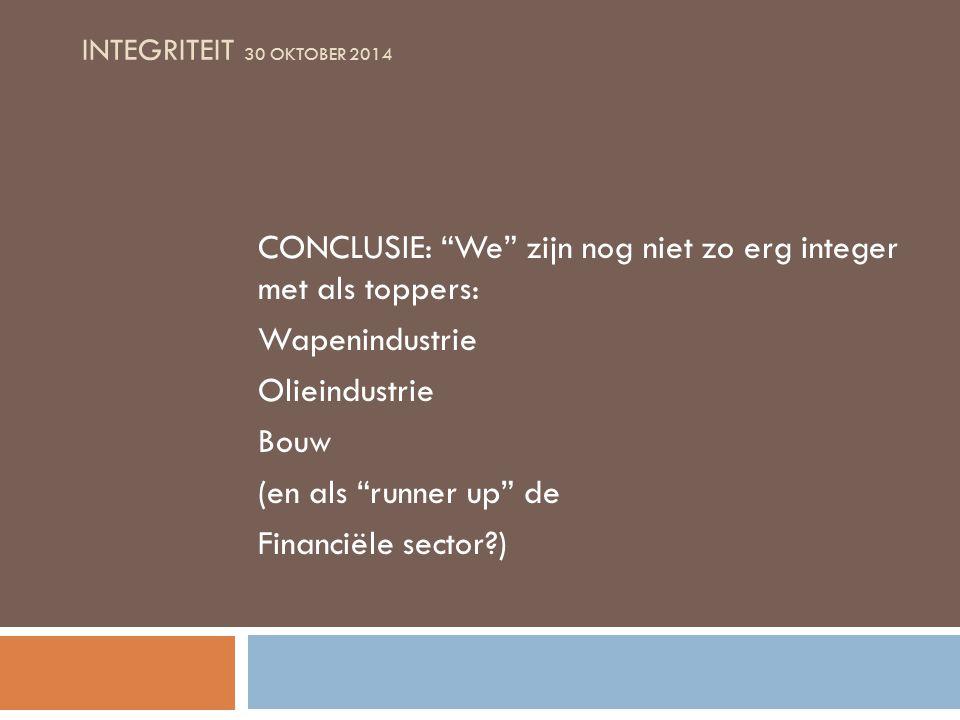 INTEGRITEIT 30 OKTOBER 2014 CONCLUSIE: We zijn nog niet zo erg integer met als toppers: Wapenindustrie Olieindustrie Bouw (en als runner up de Financiële sector )
