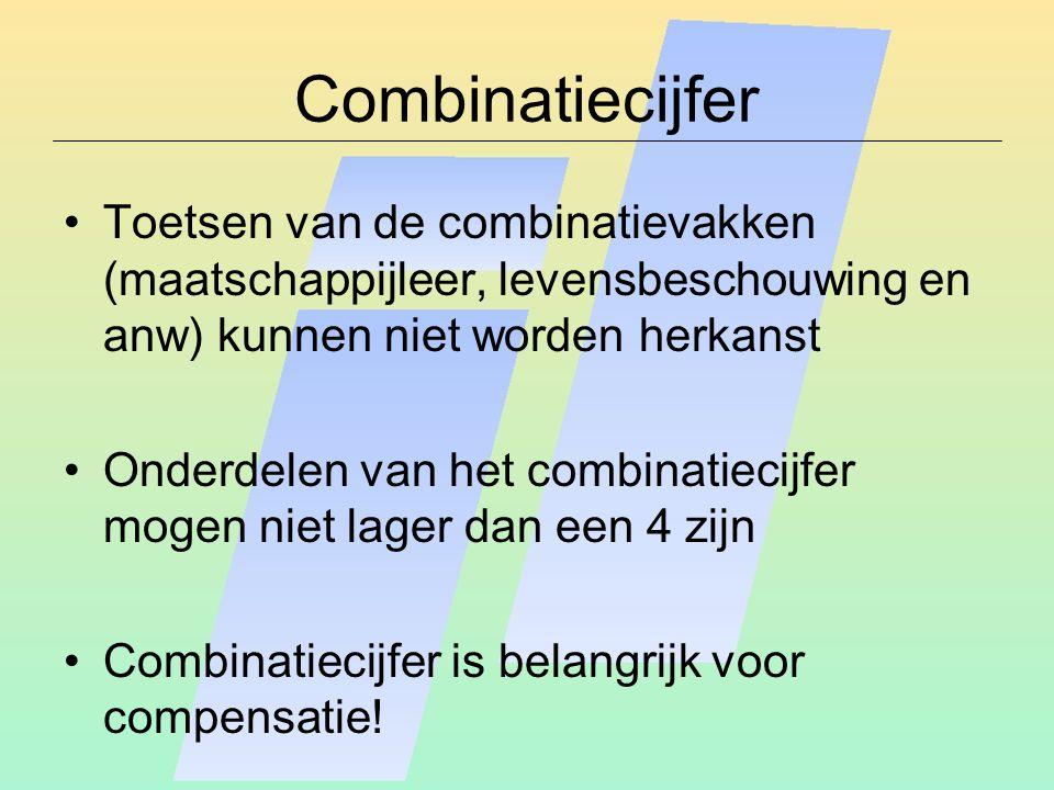 Combinatiecijfer Toetsen van de combinatievakken (maatschappijleer, levensbeschouwing en anw) kunnen niet worden herkanst Onderdelen van het combinati