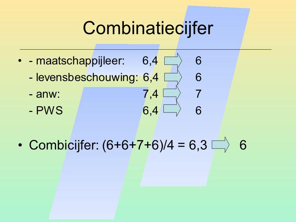 Combinatiecijfer - maatschappijleer: 6,46 - levensbeschouwing: 6,46 - anw: 7,4 7 - PWS 6,46 Combicijfer: (6+6+7+6)/4 = 6,3 6