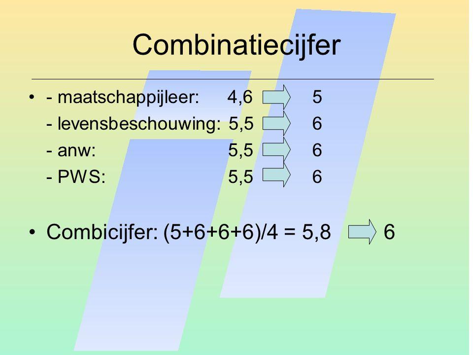 Combinatiecijfer - maatschappijleer: 4,65 - levensbeschouwing: 5,56 - anw: 5,5 6 - PWS: 5,5 6 Combicijfer: (5+6+6+6)/4 = 5,8 6