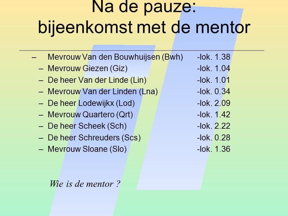 Na de pauze: bijeenkomst met de mentor – Mevrouw Van den Bouwhuijsen (Bwh)-lok. 1.38 –Mevrouw Giezen (Giz)-lok. 1.04 –De heer Van der Linde (Lin)-lok.