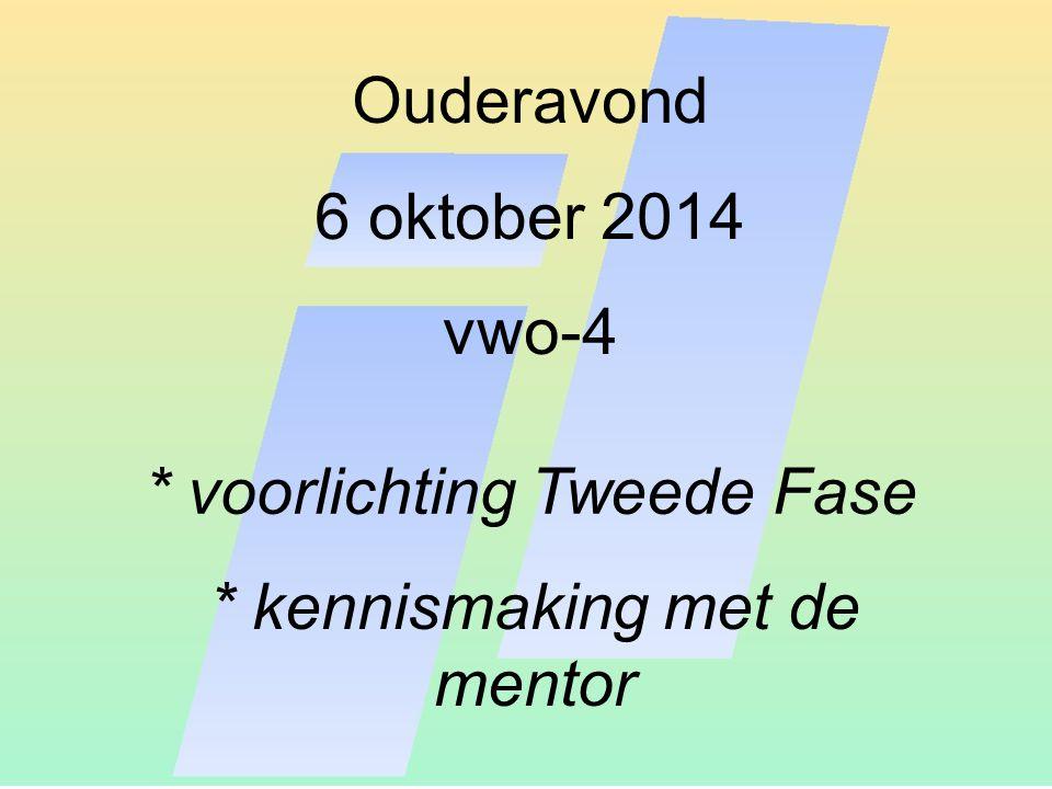 Ouderavond 6 oktober 2014 vwo-4 * voorlichting Tweede Fase * kennismaking met de mentor