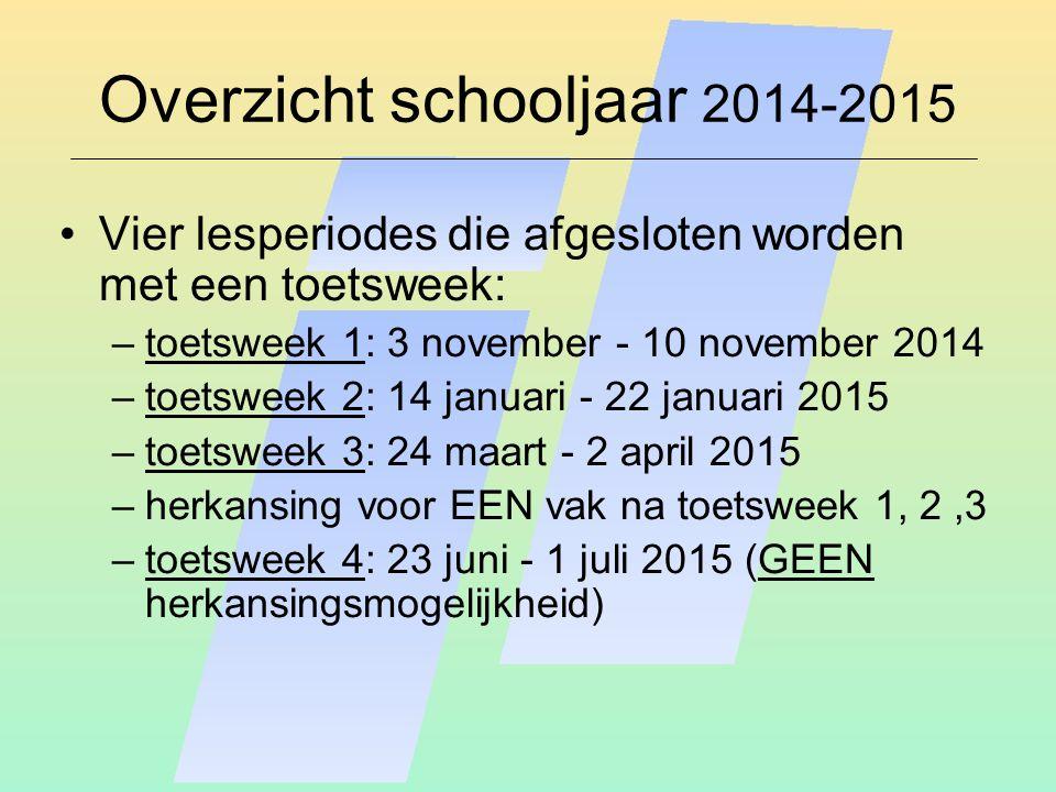 Overzicht schooljaar 2014-2015 Vier lesperiodes die afgesloten worden met een toetsweek: –toetsweek 1: 3 november - 10 november 2014 –toetsweek 2: 14 januari - 22 januari 2015 –toetsweek 3: 24 maart - 2 april 2015 –herkansing voor EEN vak na toetsweek 1, 2,3 –toetsweek 4: 23 juni - 1 juli 2015 (GEEN herkansingsmogelijkheid)