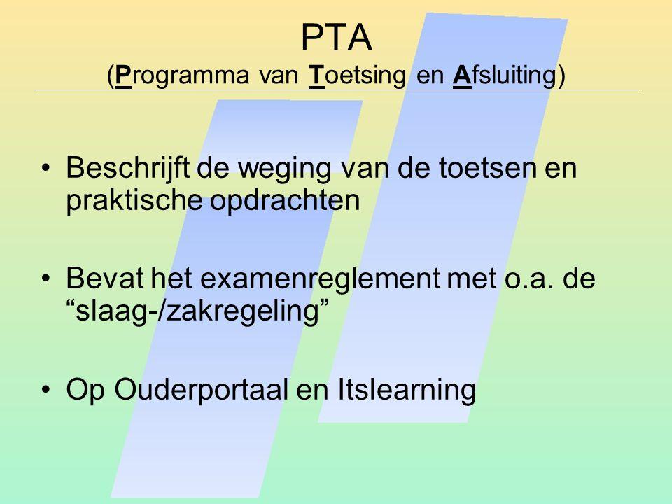 """PTA (Programma van Toetsing en Afsluiting) Beschrijft de weging van de toetsen en praktische opdrachten Bevat het examenreglement met o.a. de """"slaag-/"""