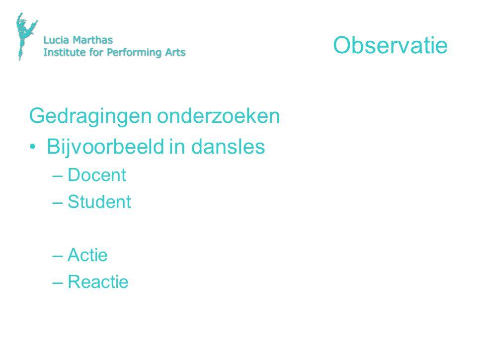 Observatie Gedragingen onderzoeken Bijvoorbeeld in dansles –Docent –Student –Actie –Reactie