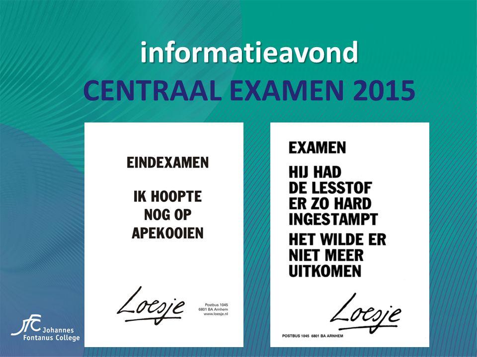 informatieavond informatieavond CENTRAAL EXAMEN 2015