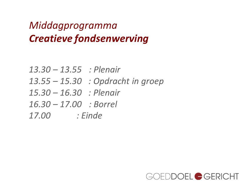 1. 13.30 – 13.55: Plenair 13.55 – 15.30 : Opdracht in groep 15.30 – 16.30 : Plenair 16.30 – 17.00: Borrel 17.00: Einde Middagprogramma Creatieve fonds