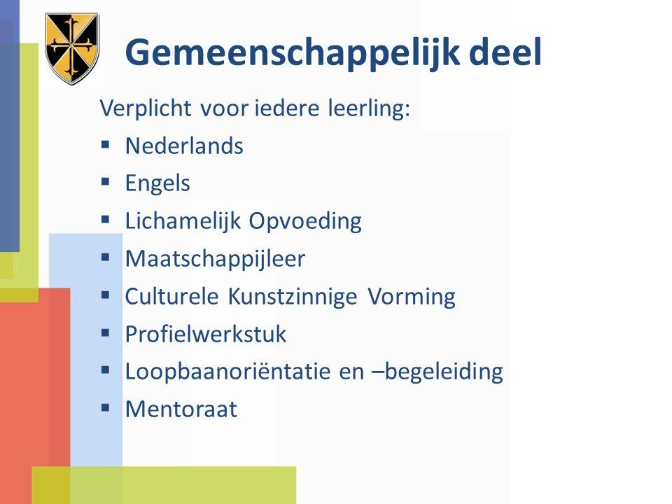 Gemeenschappelijk deel Verplicht voor iedere leerling:  Nederlands  Engels  Lichamelijk Opvoeding  Maatschappijleer  Culturele Kunstzinnige Vormi