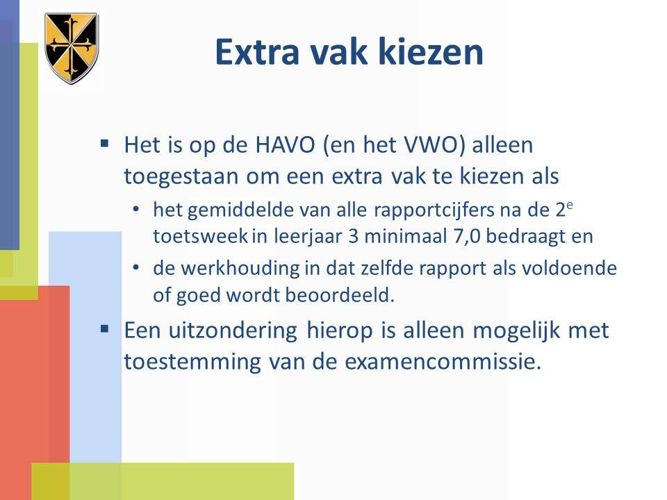 Extra vak kiezen  Het is op de HAVO (en het VWO) alleen toegestaan om een extra vak te kiezen als het gemiddelde van alle rapportcijfers na de 2 e to