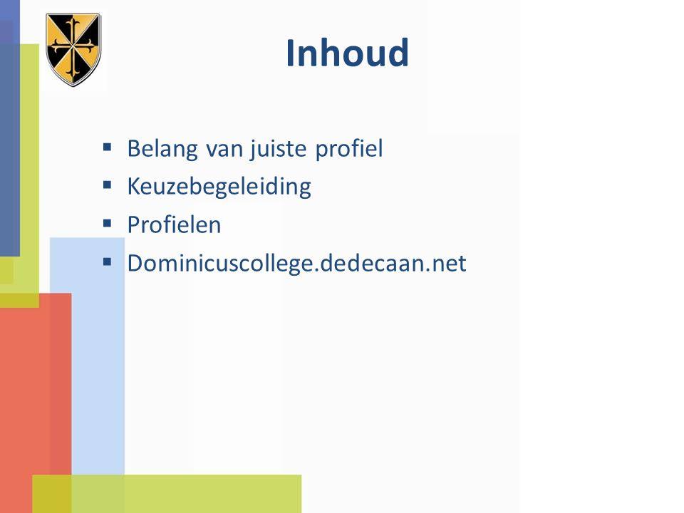 Inhoud  Belang van juiste profiel  Keuzebegeleiding  Profielen  Dominicuscollege.dedecaan.net