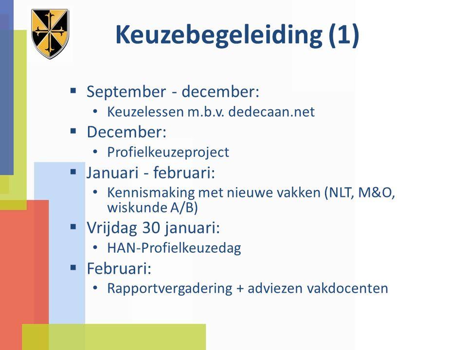 Keuzebegeleiding (1)  September - december: Keuzelessen m.b.v. dedecaan.net  December: Profielkeuzeproject  Januari - februari: Kennismaking met ni