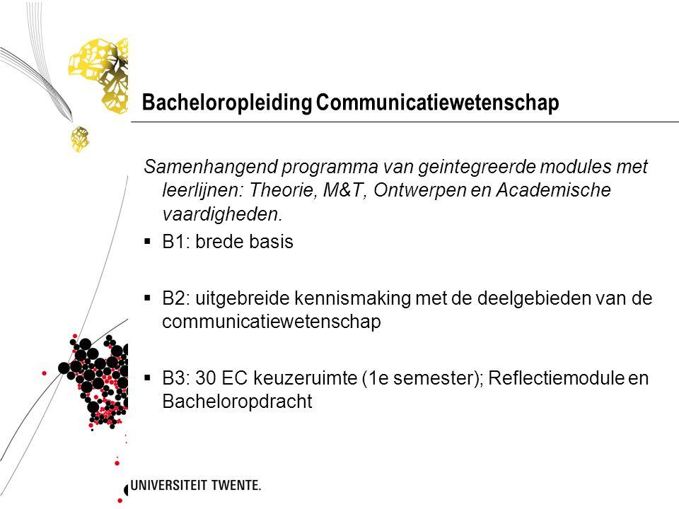 Bacheloropleiding Communicatiewetenschap Samenhangend programma van geintegreerde modules met leerlijnen: Theorie, M&T, Ontwerpen en Academische vaard