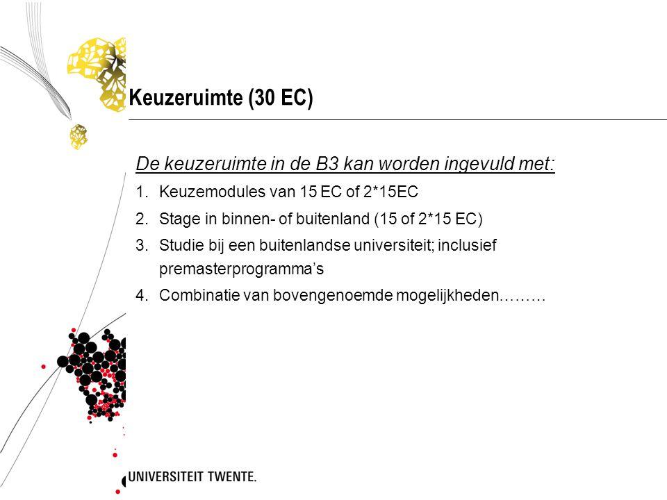 Keuzeruimte (30 EC) De keuzeruimte in de B3 kan worden ingevuld met: 1.Keuzemodules van 15 EC of 2*15EC 2.Stage in binnen- of buitenland (15 of 2*15 E