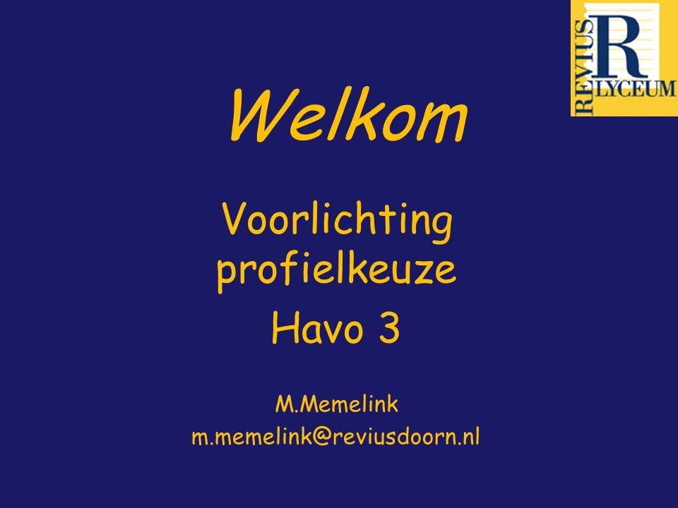 Welkom Voorlichting profielkeuze Havo 3 M.Memelink m.memelink@reviusdoorn.nl