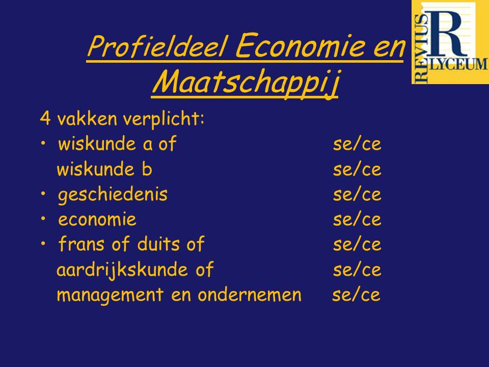 Profieldeel Economie en Maatschappij 4 vakken verplicht: wiskunde a of se/ce wiskunde bse/ce geschiedenisse/ce economie se/ce frans of duitsofse/ce aa