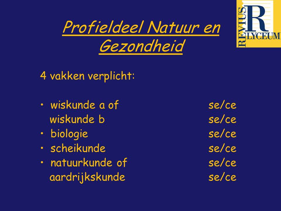 Profieldeel Natuur en Gezondheid 4 vakken verplicht: wiskunde a of se/ce wiskunde bse/ce biologiese/ce scheikunde se/ce natuurkunde ofse/ce aardrijksk