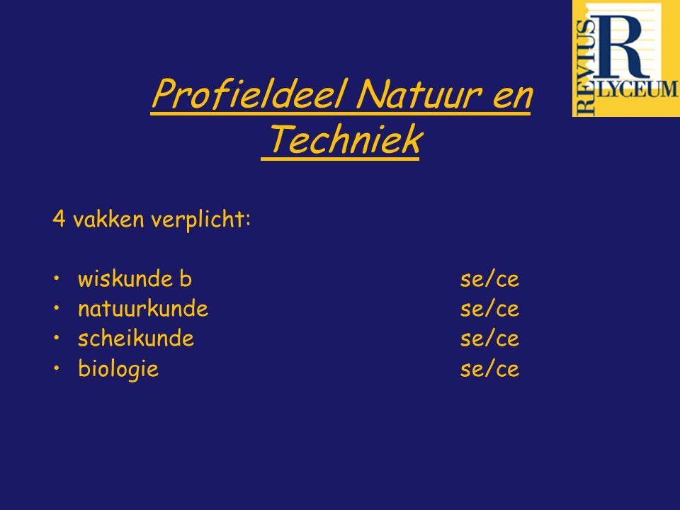 Profieldeel Natuur en Techniek 4 vakken verplicht: wiskunde bse/ce natuurkundese/ce scheikunde se/ce biologie se/ce