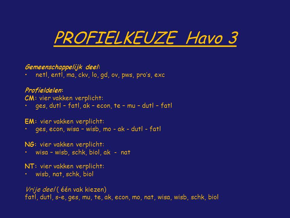 PROFIELKEUZE Havo 3 Gemeenschappelijk deel: netl, entl, ma, ckv, lo, gd, ov, pws, pro's, exc Profieldelen: CM: vier vakken verplicht: ges, dutl – fatl
