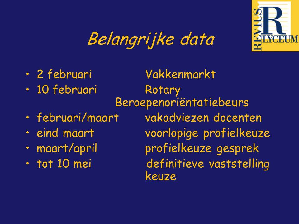 Belangrijke data 2 februari Vakkenmarkt 10 februariRotary Beroepenoriëntatiebeurs februari/maartvakadviezen docenten eind maartvoorlopige profielkeuze