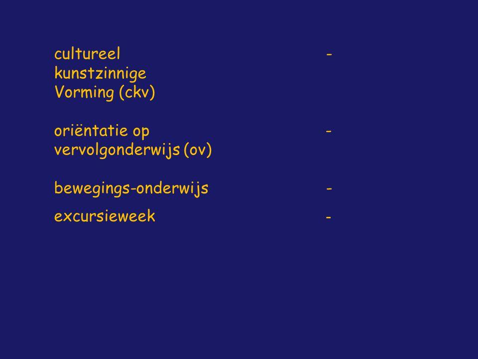 cultureel kunstzinnige Vorming (ckv) - oriëntatie op vervolgonderwijs (ov) - bewegings-onderwijs - excursieweek -